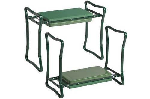 Wide-Seat Folding Garden Kneeler Green