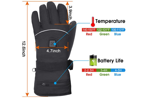 Winter Electric Heated Gloves with Rechargeable Li-ion Battery
