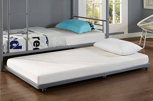 WE Furniture Silver Metal Roll-Out Twin Trundle Bed Frame