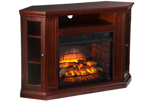 Corner Fireplace TV Stand in Cherry