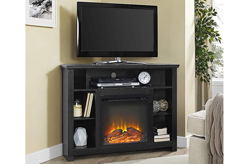 Wood Corner Highboy Fireplace TV Stand