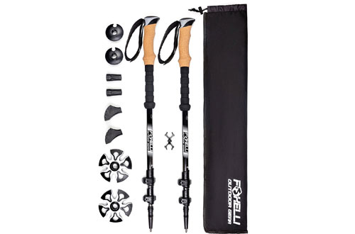 Foxelli Trekking Poles – Collapsible, Lightweight, Shock-Absorbent