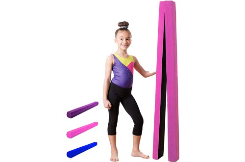 Gymnastics Balance Beam: Low Profile, Soft, Folding Floor Gymnastics Equipment for Kids