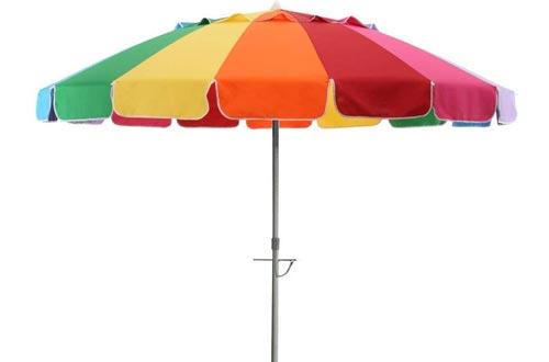 90eb5c7e8a6a Rainbow Portable 8 ft Beach Umbrella for Wind with Metal Anchor