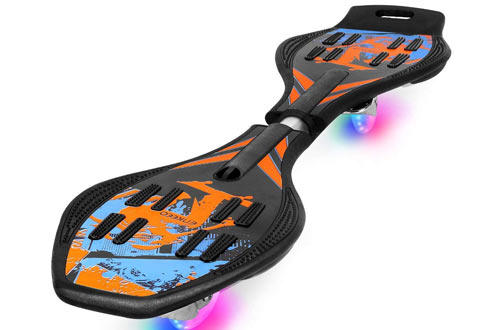 ENKEEO Caster Board with Hand Grip, Illuminating PU Casters and Carrying Pouch