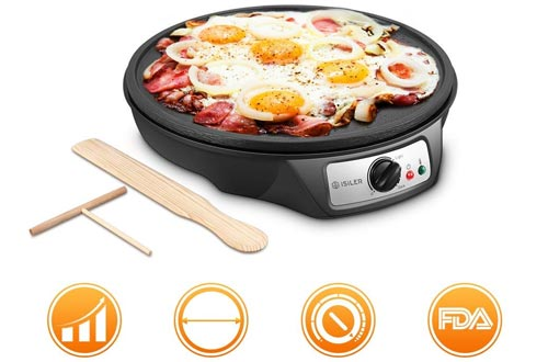 Electric Nonstick Crepe Pan, 1080W Electric Pancakes Maker Griddle with Batter Spreader