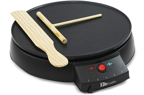 Elite Cuisine ECP-126 Electric Crepe Maker and Non-stick Griddle with Spreader