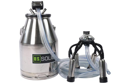 Cow Milking Machine-25L Stainless Steel Milk Bucket with Milk Lid
