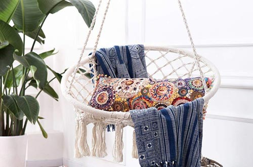 Handmade Knitted Hanging Swing Chair for Indoor/Outdoor Home Patio Deck Yard Garden