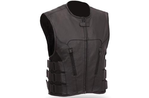 The Nekid Cow Men's Updated SWAT Team Leather Motorcycle Vest