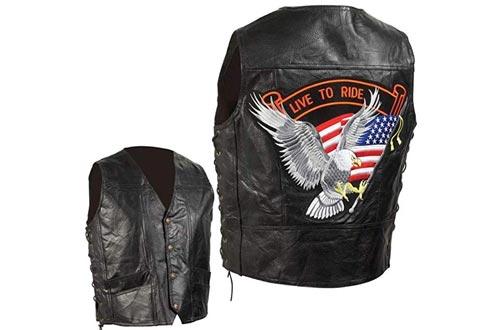 Diamond Plate Men's Leather Biker Vest