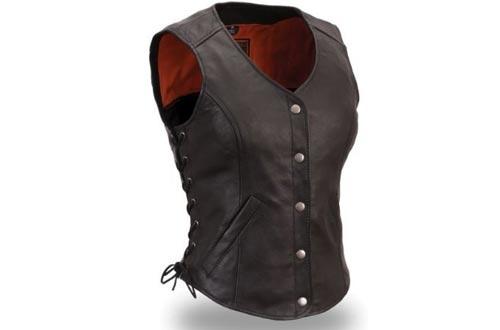 Women's Motorcycle Biker Classic Soft leather Vest