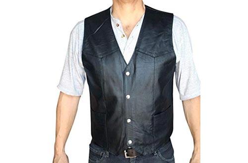 Men's Motorcycle Vest Genuine soft Leather