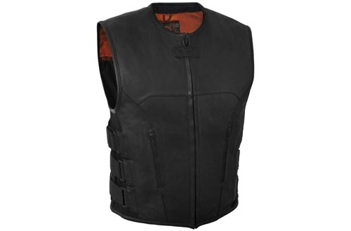 Auto, motor: onderdelen, accessoires Adults Mens Leather Waistcoat Vest Buttons Side Laced For Bikers/Fashion Vest