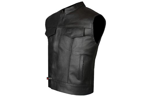 SOA Men's Leather Vest Anarchy Motorcycle Biker Club Concealed Carry Outlaws L