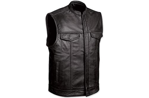 Men's Motorcycle Club Style Leather Vest with Gun Cell Glasses Pockets