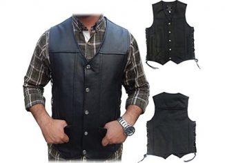 Men's Black Genuine Leather 10 Pockets Motorcycle Biker Vest