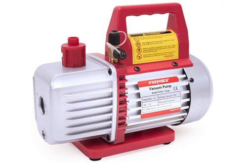Kozyvacu TA350 Single-Stage Rotary Vane Vacuum Pump for HVAC/Auto AC Refrigerant Recharging