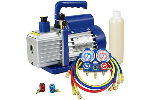 ZENY 3.5CFM Single-Stage Rotary Vane Vacuum Pump for HVAC/Auto AC Refrigerant Recharging