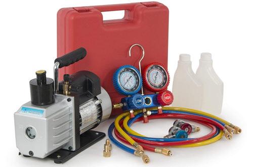ARKSEN 1/2HP 5 CFM Vacuum Pump, Refrigerant AC Recharge Manifold Gauge