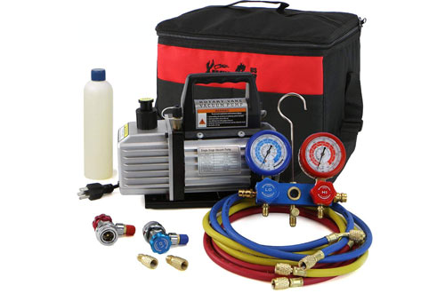 XtremepowerUS 3CFM or 4CFM Air Vacuum Pump HVAC A/C Refrigeration Kit
