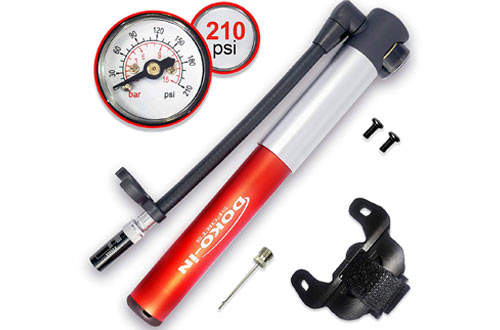 DOKO-IN Mini Bike Pump with Gauge, Frame Mount Bicycle Pump with Flexible Hose