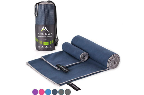 Arnuwa Microfiber Camping Travel Towel Quick Dry Ultra Absorbent Compact Antibacterial