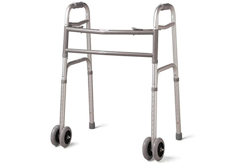 Bariatric Heavy-Duty Folding Walker with Wheels for Seniors, Adults