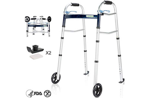 OasisSpace Compact Lightweight Folding Walker with Wheel