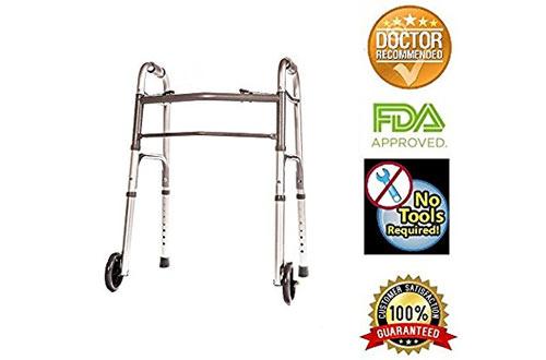 Healthline Trading Folding Walker with Wheels &Adjustable Height