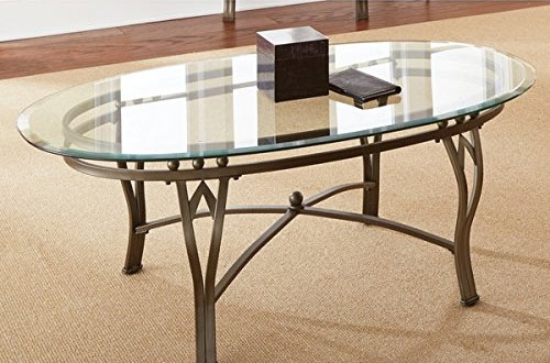 Contemporary Style Maison Tempered Glass-top Oval Coffee Table