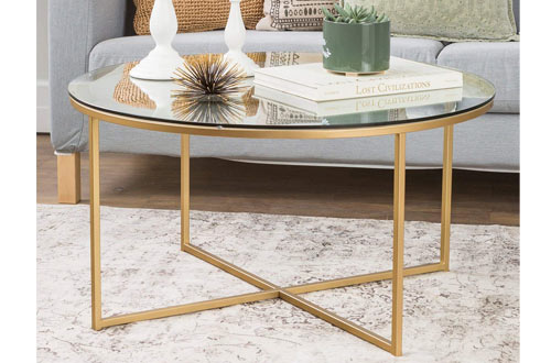 Round Glass Coffee Table with X-Base