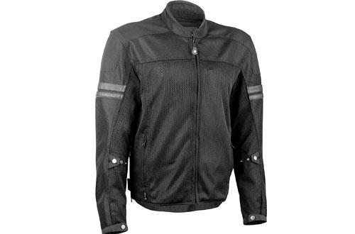 Turbine Mesh Men's Motorcycle Jacket W/Waterproof Liner/Reflective Piping Black Size 4XL