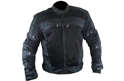Xelement CF380 Mens Black Armored Mesh Jacket - Large