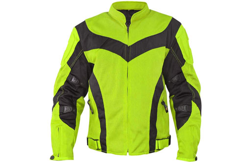 Xelement CF6019 Invasion Mens Neon Green Mesh Armored Motorcycle Jacket - 2X-Large