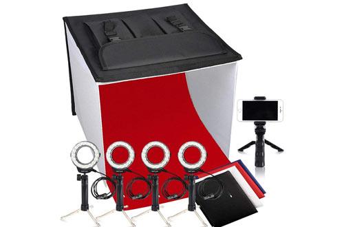 Photo Light Box, FOSITAN K60 24x24 Inch LED Foldable Table Top Portable Photography Box Photo Studio Light Tent