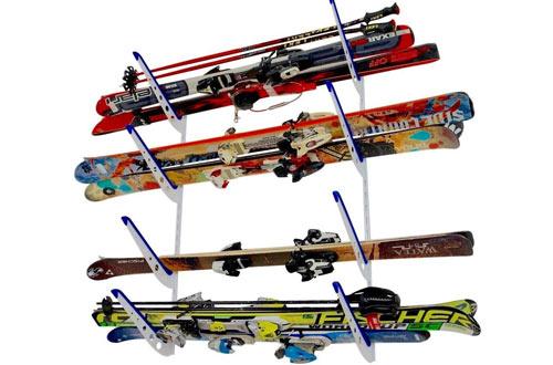 Horizontal Multi Ski Wall Rack | Home and Garage Skiing Storage Mount