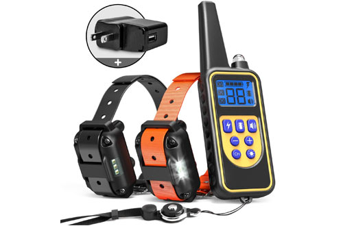 iSPECLE Remote Dog Shock Collar with LED Light, Beep & Vibration