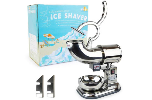 WYZworks Stainless Steel Commercial Ice Shaver with Blades - 440lb/h