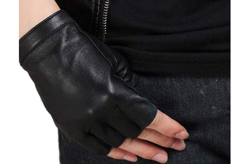 Nappaglo Half-Finger Leather Gloves Goatskin Outdoor Riding for Women