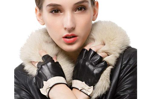 Nappaglo Women's Fingerless Leather Gloves