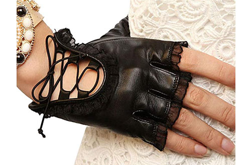 Womens Lace Fingerless Gloves PU Leather Cosplay Costume