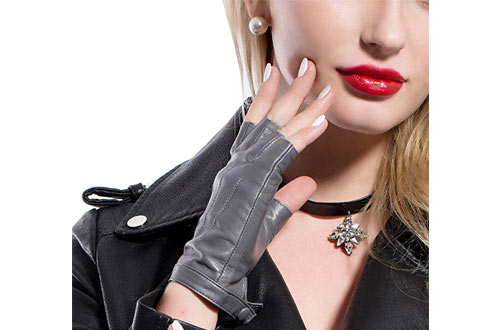 Fingerless driving Leather Gloves