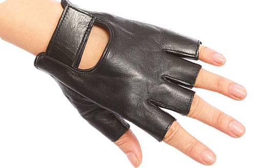 Women's Genuine Nappa Leather Fingerless Motorcycle Fashion Driving Gloves