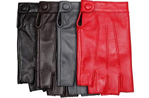Warmen Nappa Leather Half Finger Fingerless Gloves for Motorcycle