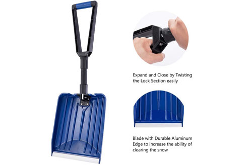 ORIENTOOLS Portable Collapsible Snow Shovel with Aluminum Edge Blade