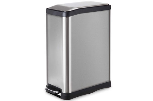 Home Zone Stainless Steel Kitchen Trash Can with Rectangular Design and Step Pedal