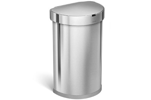 Stainless Steel Semi-Round Sensor Can, Touchless Automatic Trash Can