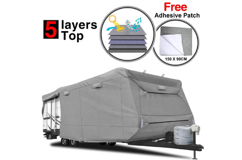 RVMasking Heavy Duty 5 Layers Travel Trailer RV Cover