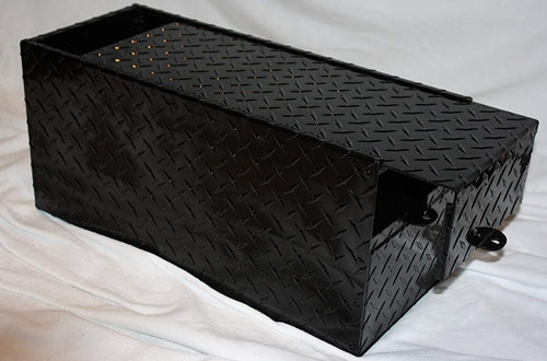RV Battery Lock Box – Black Aluminum Diamond Plate Gloss